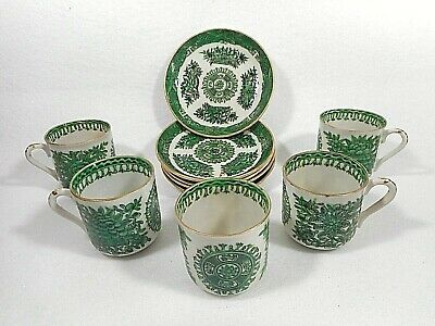 Set of 5 Antique Chinese Export Porcelain Green Fitzhugh Demitasse Cups/Saucers