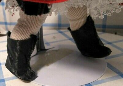 "1950's BLACK OILCLOTH BOOTS & NYLON SOCKS fit 7-8"" DOLL GINNY WENDY MUFFIE ALEX"
