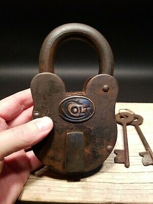 Antique Vintage Style Cast Iron Colt Firearms Ammo Box Padlock Lock & Key