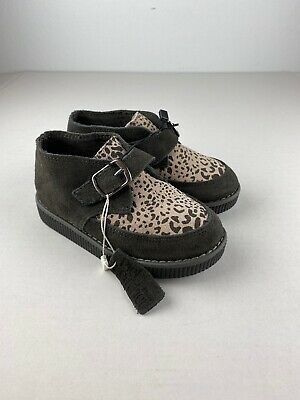 Zara Baby Chesea Boots Toddler 24 / 7.5 Gray Beige Animal Print Suede Leather