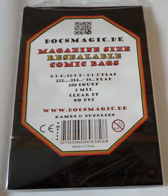 "100 Docsmagic.de Resealable Magazine Size Comic Bags 8-3/4""x 11-1/8""+ 1-1/2""Flap"