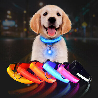 LED Pet Nylon Flashing Collar Color Pet Dog Cat Puppy Safety Night Light Pendant