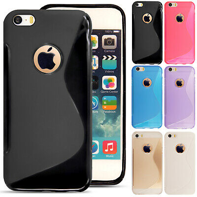 For iPhone SE 5 5S 5C 6 6S Slim Soft Silicone Gel Case Cover + Film + Stylus