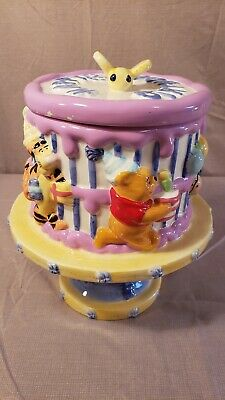 Disney Winnie the Pooh Birthday Cake Cookie Jar Ceramic Welcomes FTD Adorable