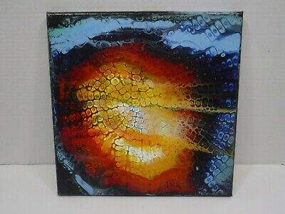 12 x 12 Abstract Original Fluid Art Acrylic Pouring Painted On Stretched Canvas