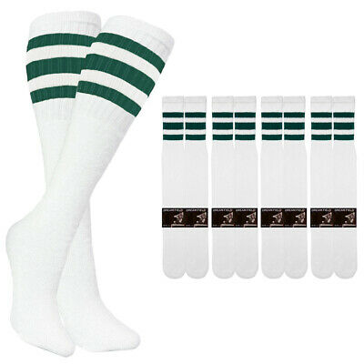 4-8-12 PAIR SPORTS TUBE SOCKS COTTON WHITE BLACK STRIPES LONG SOCKS 10-15