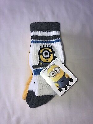 DESPICABLE ME MINIONS 2 PAIR PACK Sport Cushion SOCKS SHOE SIZE (6 - 8 1/2) New