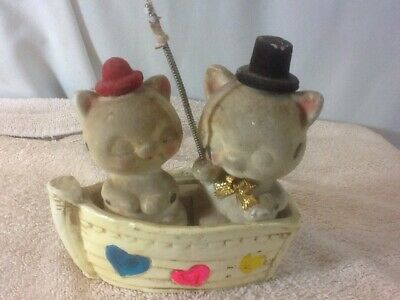Vtg Collectible Ceramic 2 PIGS IN A BOAT Piggy Bank W/Colorful Hearts pre-owned
