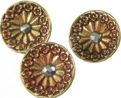 3 Red Tinted Victorian Metal Buttons, Small, Cut Steel Centers, Flower Borders