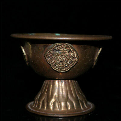 """3.35""""Exquisite Chinese red copper Handmade carving pattern Cup bowl"""