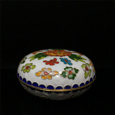 "0.4""Exquisite Chinese copper Cloisonne Hand painted flower Jewelry box"