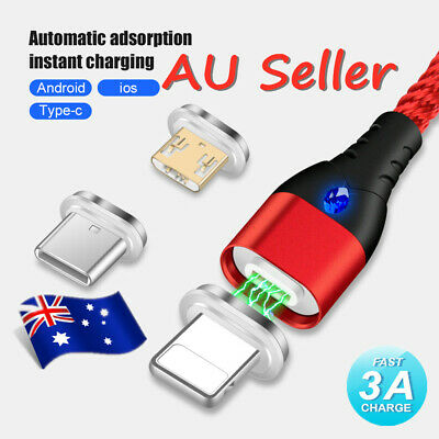 AU 3A Magnetic Braided Micro USB C iOS Fast Charging Data Sync Cable For iPhone