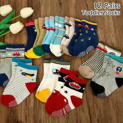 12 pairs Baby Girl Boy Anti-slip Socks Cartoon Newborn Slipper Shoes 0-12 Month