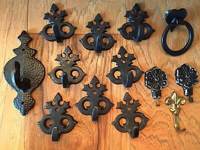 Collection of 13 Variety Black Cast Iron Hooks