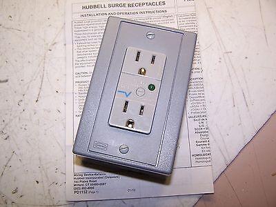 New Hubbell Surge Protection Receptacle 15A 125V 400V Peak Drubtvss15
