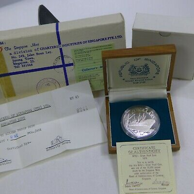 1976 Singapore $10 Dollar Silver Proof w/box and COA