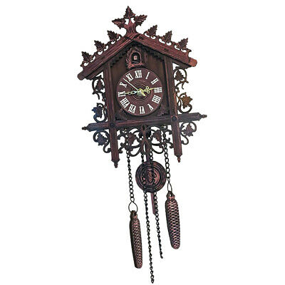 Hand-carved Wooden Cuckoo Clock Decorative Wall Clock for Office Home Bar Decor