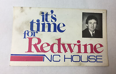 1980's DAVID REDWINE promo card ~ NC Democrat House Of Representatives ~ 3x5