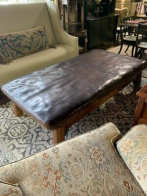 18th Century French Leather Banquette