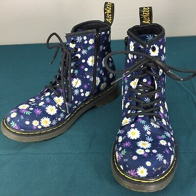 Used Doc Dr Martens Delaney Blue Floral Daisy Girls Boots Youth sz US 3 Lace Up