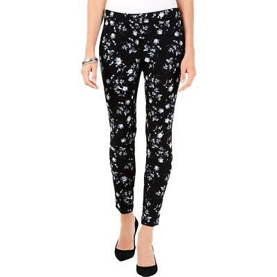 Alfani Womens Black Floral Ankle High Rise Skinny Pants 10 BHFO 9612
