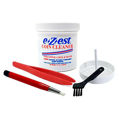 eZest 5oz Coin Cleaner Copper Gold Silver Jewelry + Tweezer Basket Scratch Brush