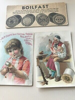 J. & P. COATS' Spool Cotton Lot, Girl In Pink Dress  Trade Cards