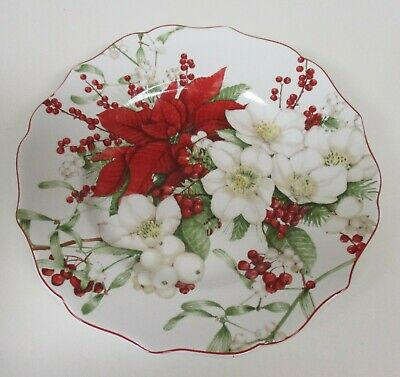 222 Fifth Winter Harmony Christmas Poinsettia 8 Salad Dessert Plates NIB