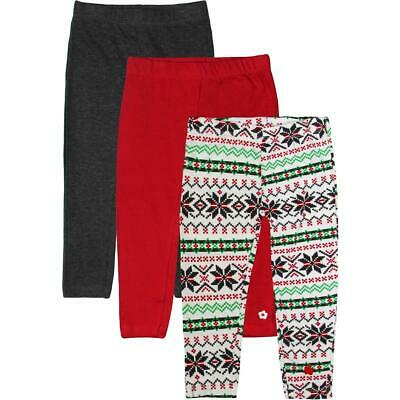 Limited Too Toddler Girl's 3 Pack Fair Isle Printed Holiday Leggings Set