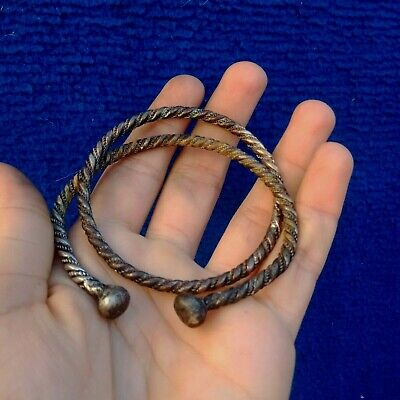 Ancient Viking Silver twisted Bracelet Cuff Musuem Quality Artifact