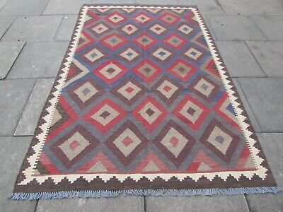 Kilim Vintage Traditional Hand Made Oriental Large Kilim Red Wool 245x159cm