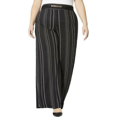 NY Collection Womens Black Floral Pull On Wide Leg Pants Plus 1X BHFO 5141
