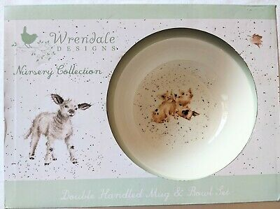 Wrendale Designs Nursery Collection Double Handled Mug Bowl Set Royal Worcester