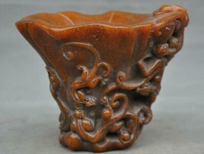China Ox horn Horns carved Brave troops Pixiu beast statue Goblet Wineglass Cup