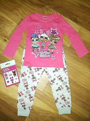 LOL Surprise Pyjamas Childrens Kids Girls Pink & Gray PJs Age 3-4 Years