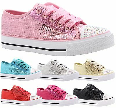 Girls Kids Party Lace Up Glitter Skater Pumps Plimsolls Shoes Trainer Boot Size