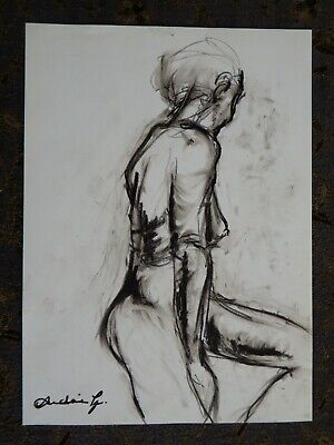 Original chinagraph pencil expressive female nude life drawing seated pose