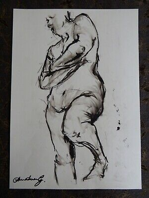 Original chinagraph pencil expressive female nude life drawing standing pose