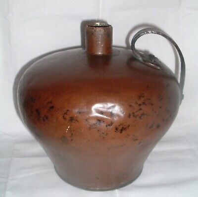 Antique Arts & Crafts Movement Dovetailed Hammered Bulbous Copper Pot lamp Base