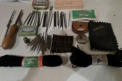 Vintage items sewing/rug making collectables.Pkts pins various needles.Mending.
