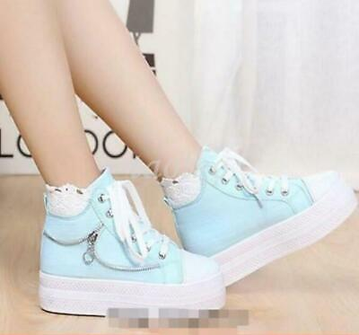 Womens High Top Sneakers Sweet Girls Lace Up High Platform Canvas Sport Shoes Sz