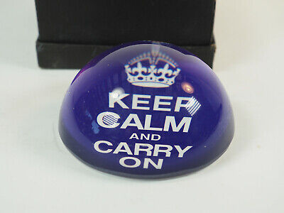 """Keep Calm and Carry On Vintage Style Paperweight 4"""" half round  Desk ornament"""