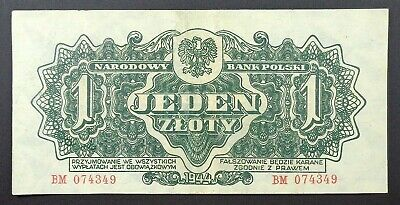 1944 Poland - Soviet Red Army Issue 1 Zloty Banknote, P-105a.