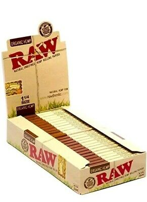 24 RAW ORGANIC Hemp Gum Vegan Rolling Papers Full Box Natural Paper 1 1/4 Size