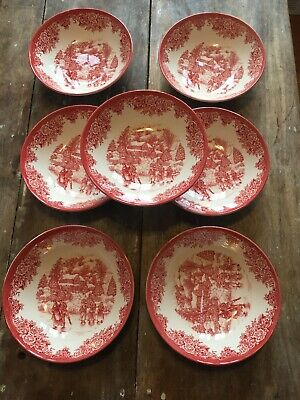 """Set Of 7 Royal Stafford Christmas Ice Skaters 7.75"""" Soup Cereal Red Bowls New"""