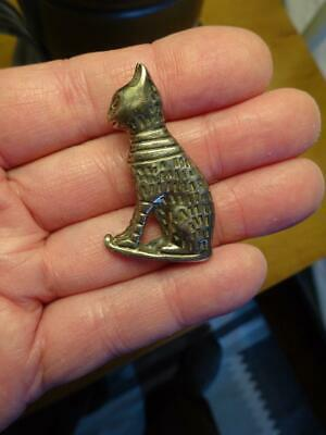 Vintage SIGNED .925 STERLING SILVER CAT PIN BROOCH Egyptian Revival GREAT DETAIL