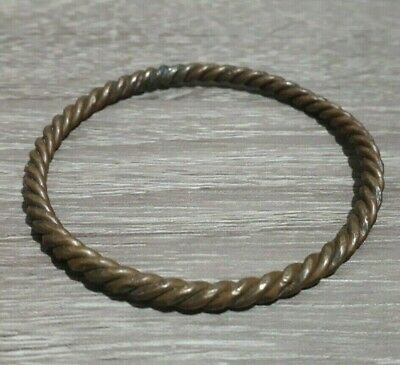 Very Rare Ancient Bronze Unique Bracelet Twisted Solid Viking Artifact Antique