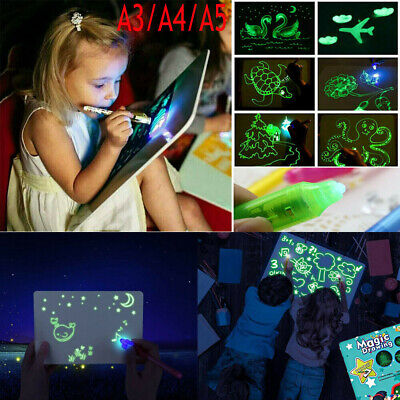 Light Up Drawing Fluorescent Magic Writing Board Kit Kids Fun Developing Toy UK