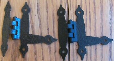 "2 Vintage 3/8"" Inset Colonial Hammered Copper Spade Finial Cabinet Hinges Armed"
