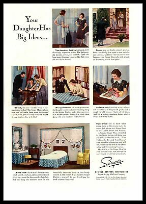 "1937 Singer Sewing Machine Company ""Your Daughter Has Big Ideas"" Color Print Ad"